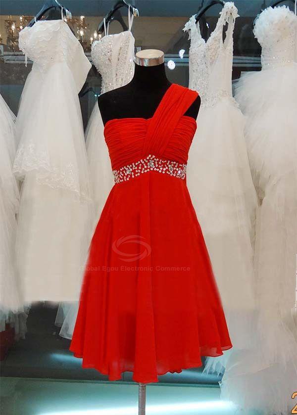 Elegant One-Shoulder Sequin Embellished Bridesmaid Dress For Women (RED,14) | Sammydress.com