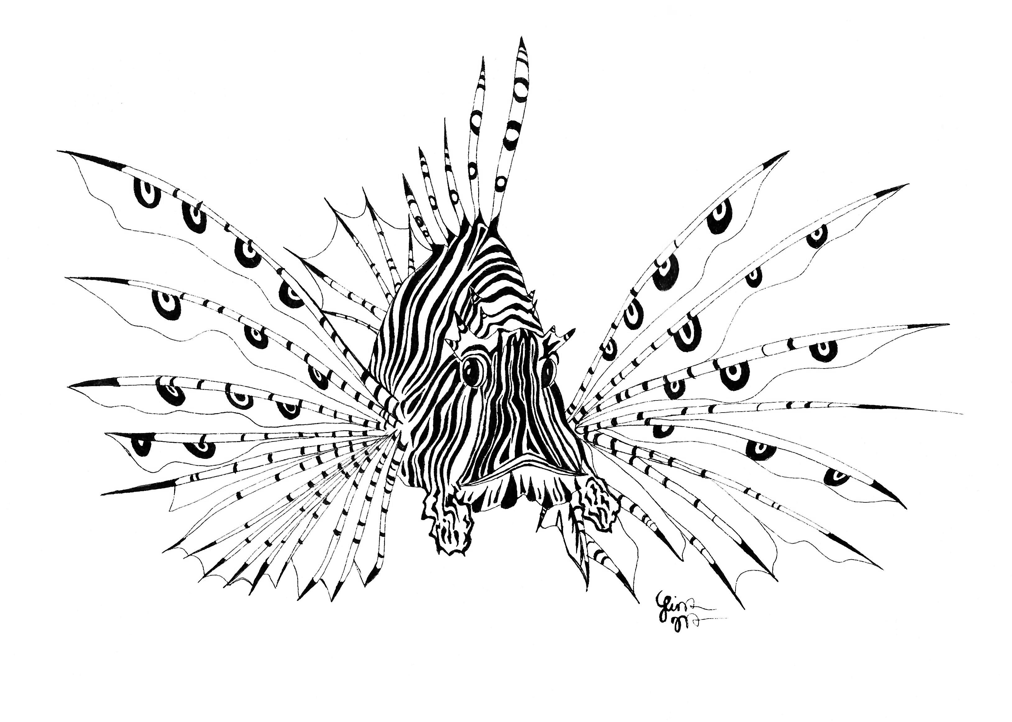 1c053d508 Lion Fish Tattoo Sample | Ink in 2019 | Lion tattoo, Fish drawings ...