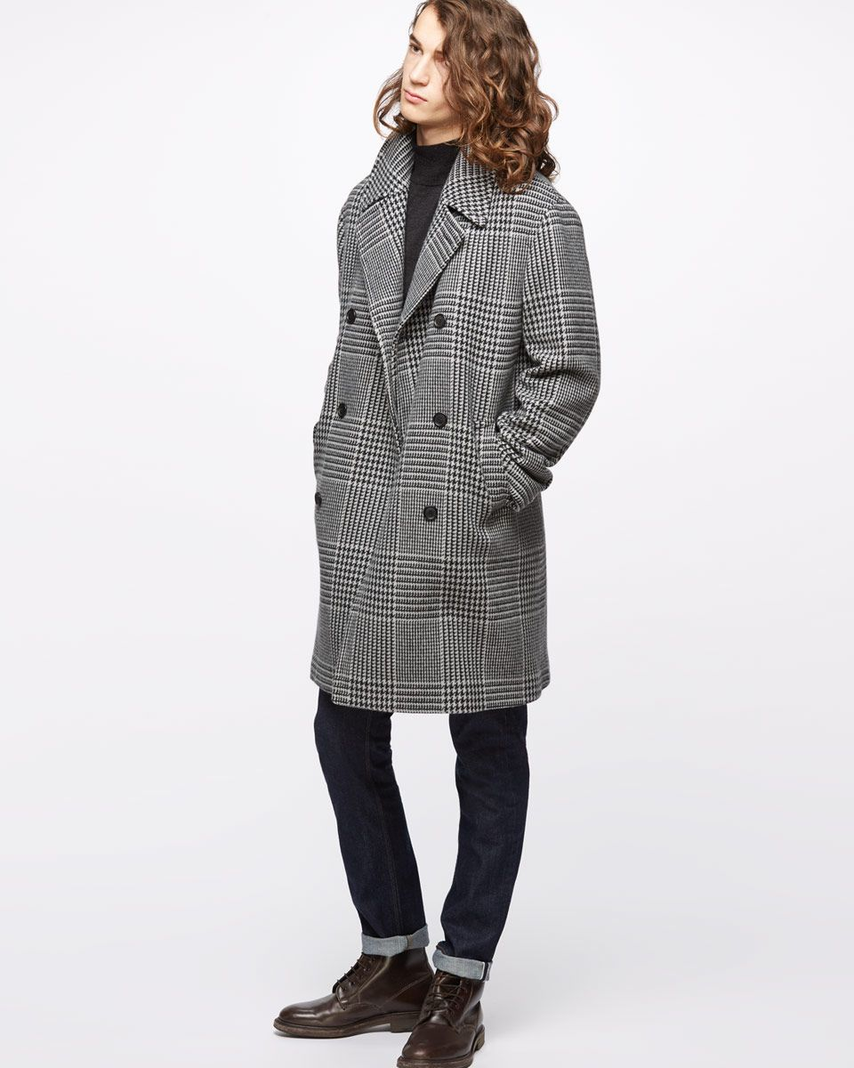 Fox Brothers Glen Check Double Breasted Coat
