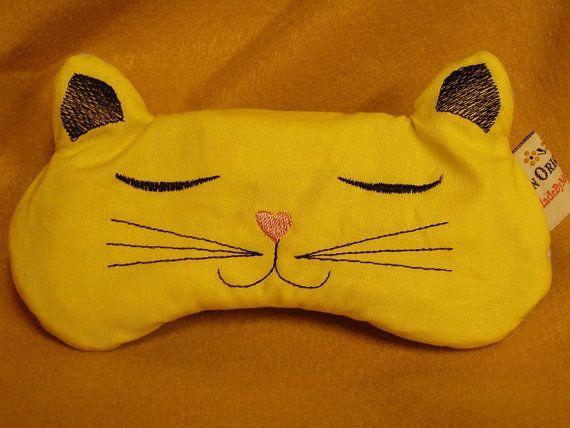 Embroidered Eye Mask, Sleep, Sleeping, Cute Sleep Mask, Kids, Eye Shade, Adults, Sleep Blindfold, Slumber Mask, Kitty Cat Design, Handmade