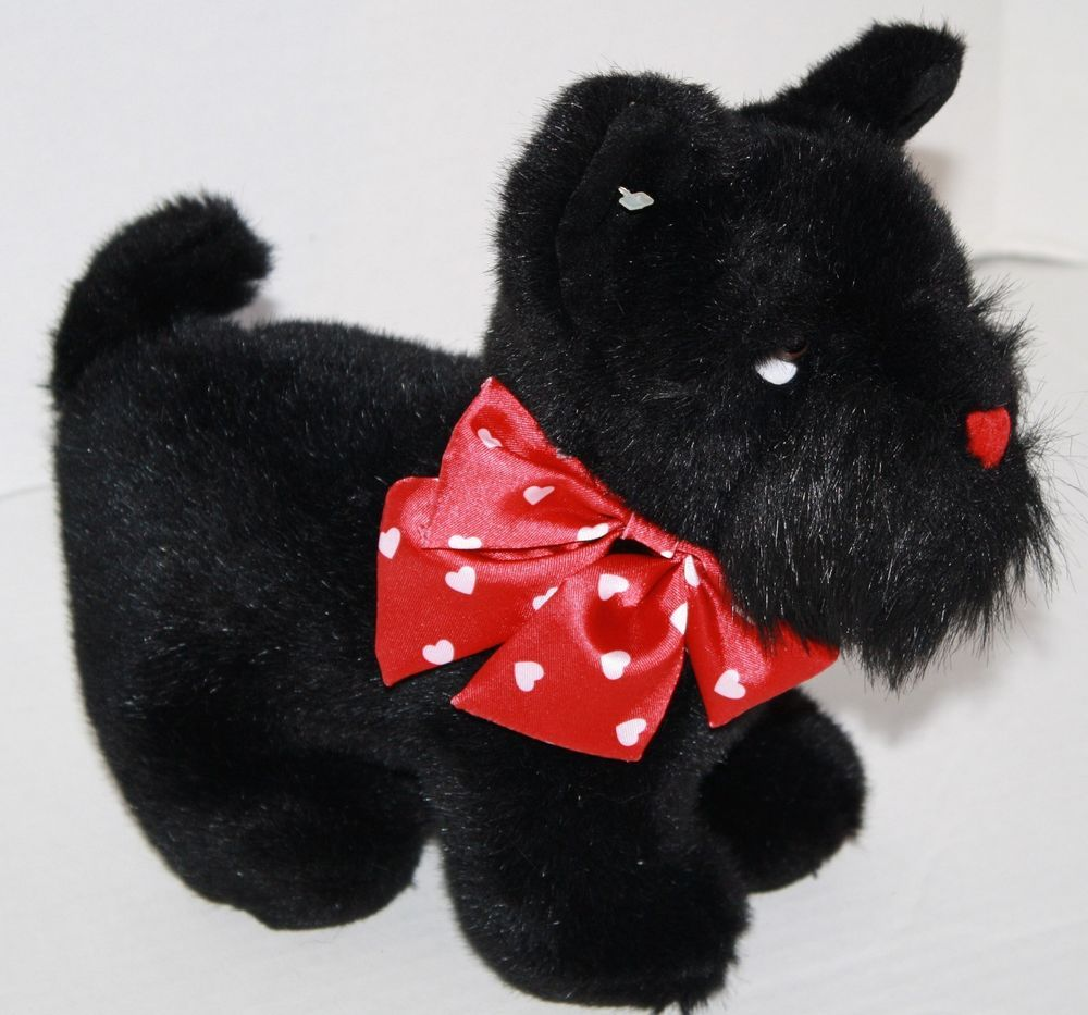 Walmart dog black plush Scottish Terrier red bow stuffed