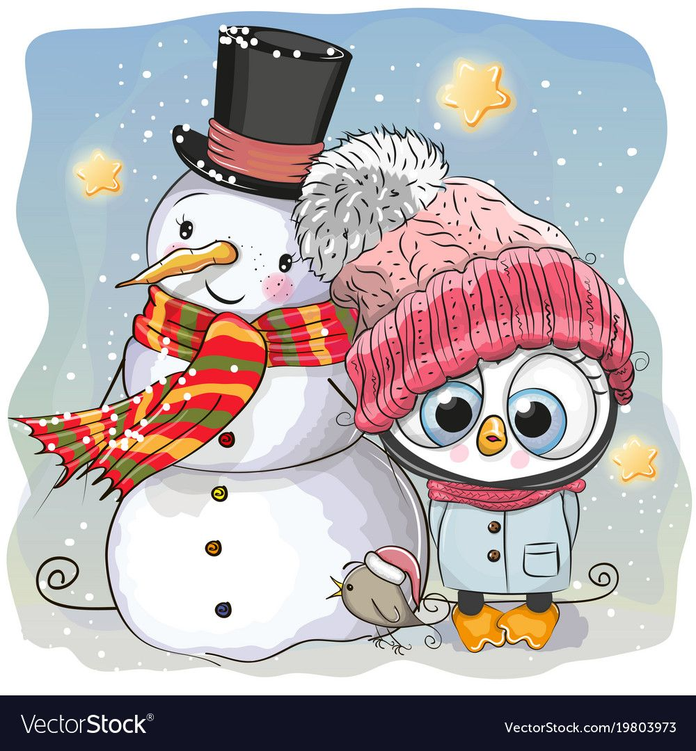 Snowman and cute penguin girl in a hat vector image on