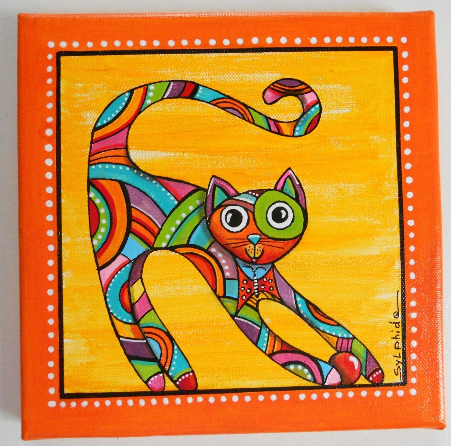 Tableau du chat unique et color papillon d corations murales par sylphide chat - Dessin chat rigolo ...