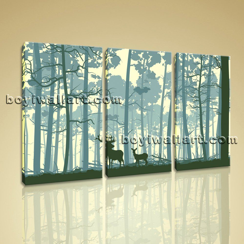 Large trunks of trees animal contemporary wall art print bedroom