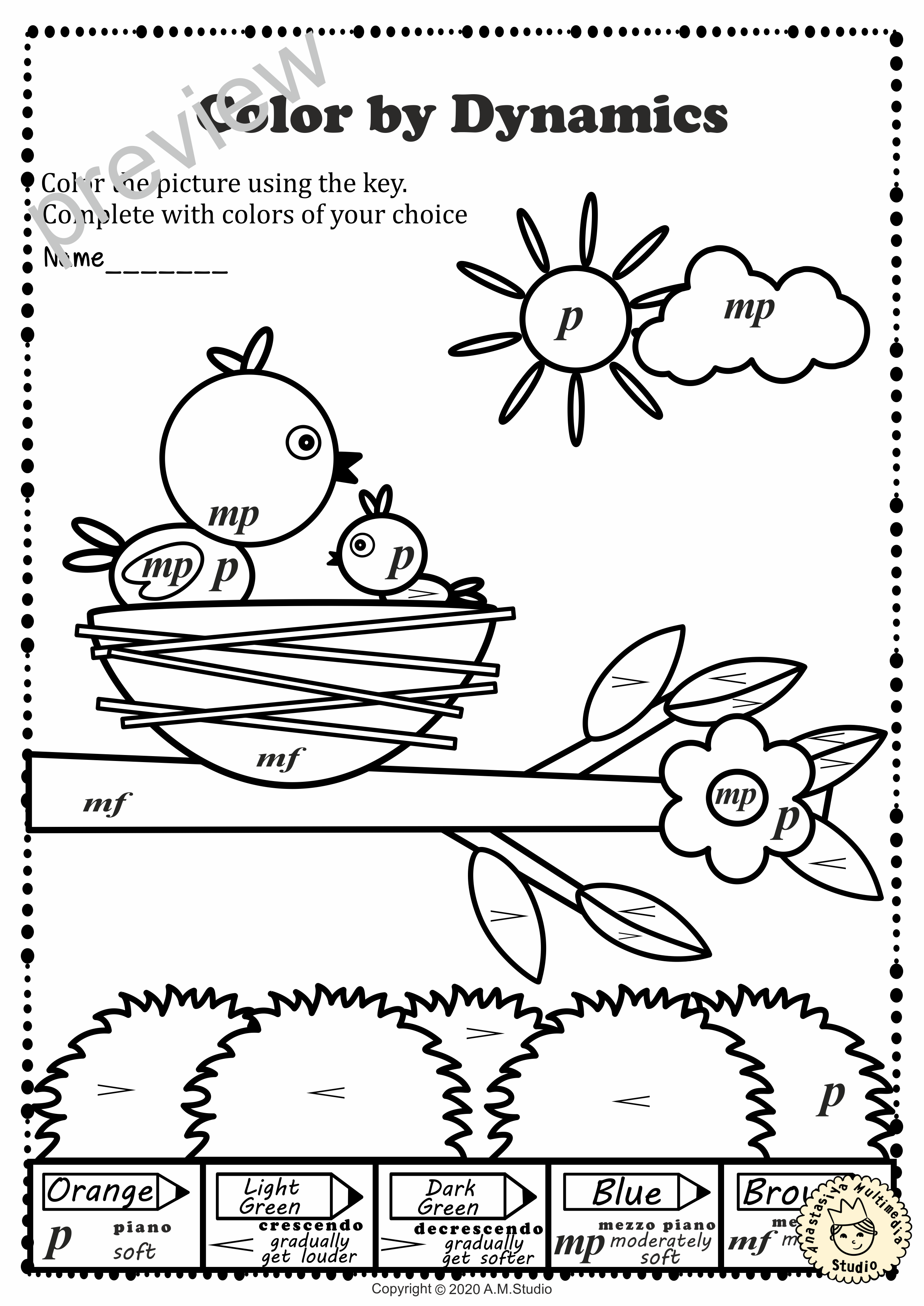 Musical Coloring Pages For Spring Color By Dynamics With