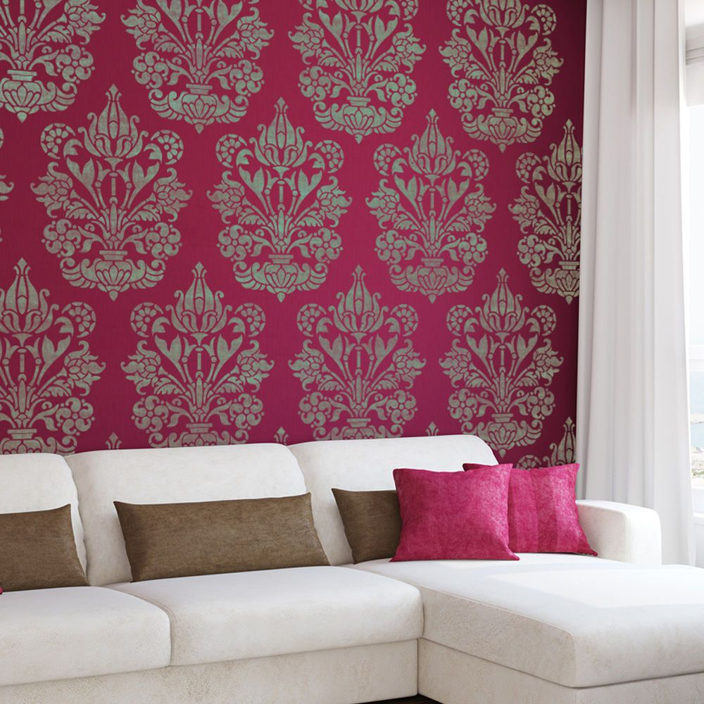 Details about large wall stencil damask allover stencil heather details about large wall stencil damask allover stencil heather for easy diy decor amipublicfo Image collections