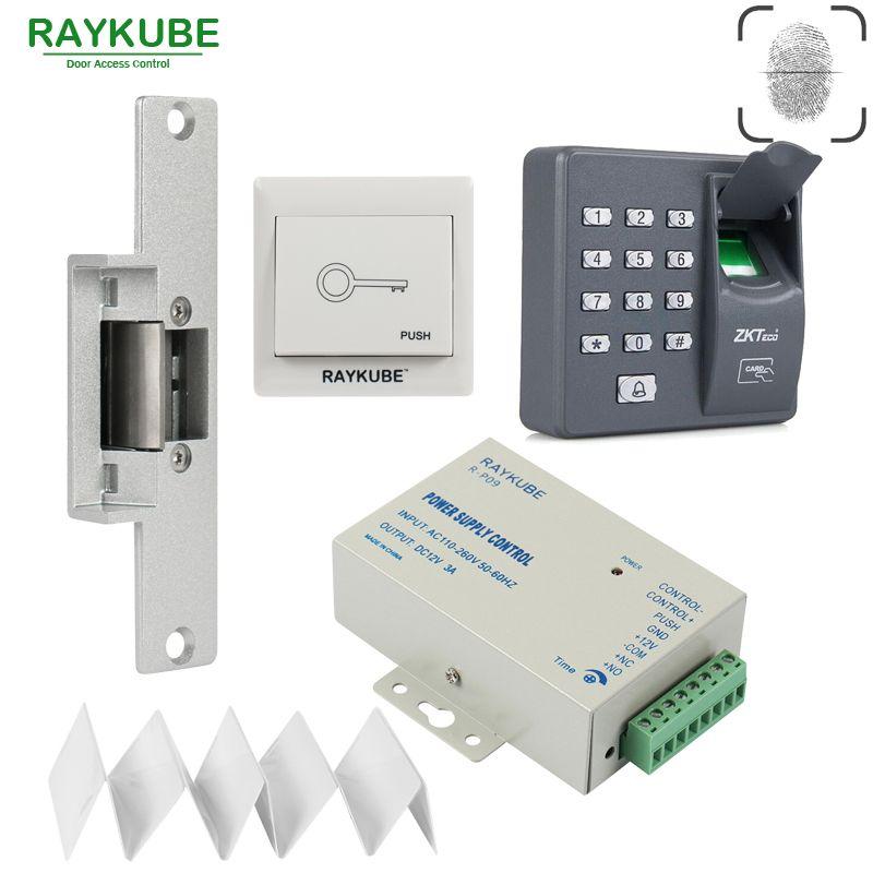 Raykube Biometric Fingerprin Rfid Access Control Kit Electric Strike Lock Bolt Lock Exit Button Id Card P Security Gadgets Access Control Bolt Lock