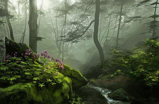 35 Fantastic Illustrations Of Fantasy Landscapes Bashooka Fantasy Landscape Forest Landscape Environmental Art