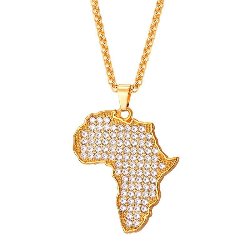 18K Gold Plated Africa Map Necklace Country Pendant Chain Hip Hop Jewelry