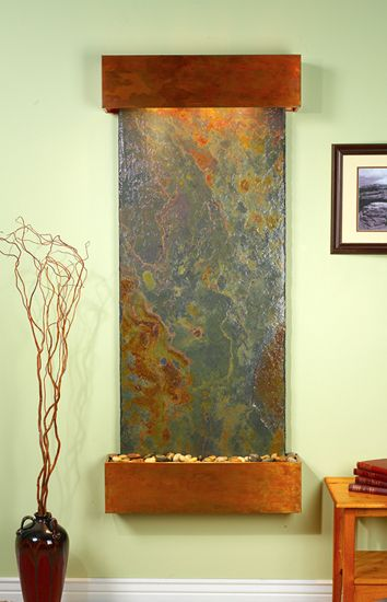 Large Tanjun Wall Hanging Fountain With Green Rajah Slate And Rustic Copper  Hood And Tray With