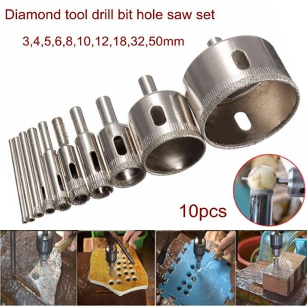 10pcs Set 3 50mm Diamond Tool Drill Bit Hole Saw Glass Ceramic Marble Tile In 2020 Glass Ceramic Drill Hole Saw