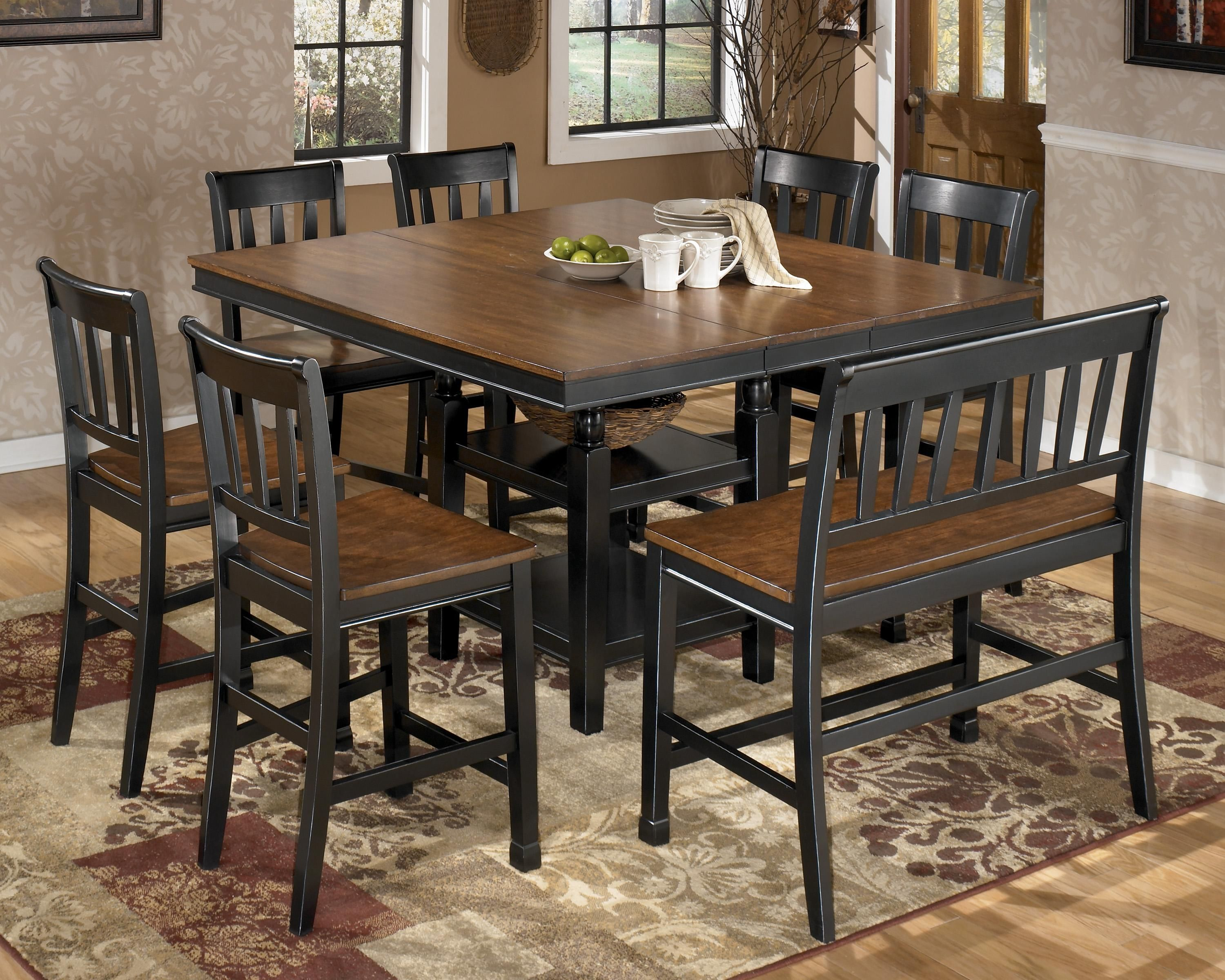 Owingsville 8 Piece Square Counter Extension Table Set By Signature Design Ashley Johnny