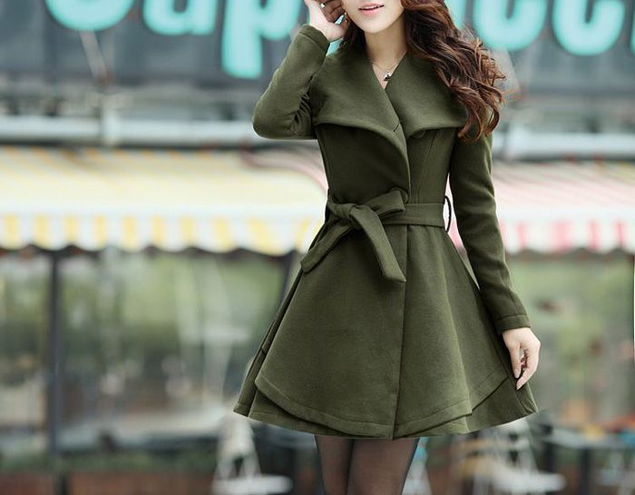 Sophisticated Turn-Down Collar Belt Embellished Pelpum Top Long Sleeves Slimming Overcoat For WomenCoats | RoseGal.com