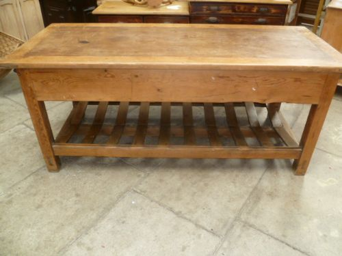 Medium image of antique pine mill table   kitchen island
