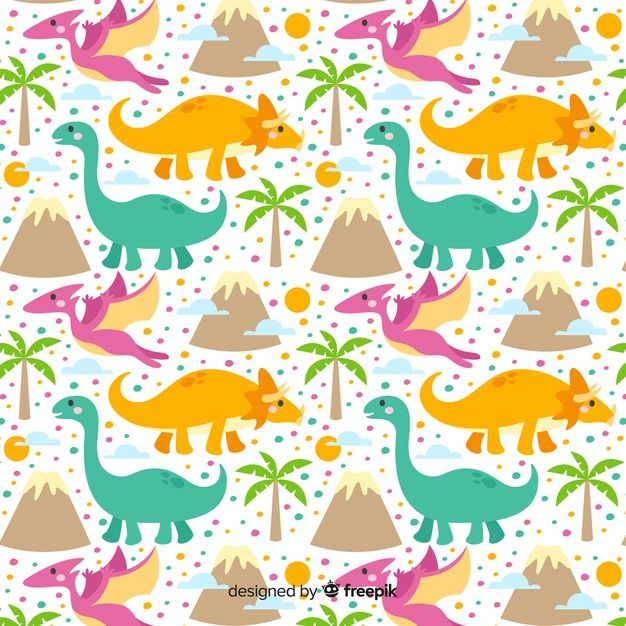 Estampado De Dinosaurios En Diseño Plano Descargar