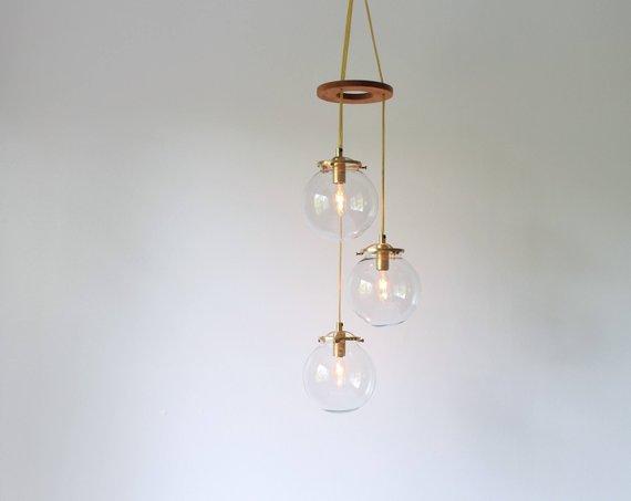 Bubble Spiral Chandelier Globe Pendant Lamp 3 Hanging Clear Glass Globe Pendant Lighting Fixture B Pendant Light Fixtures Glass Globe Globe Pendant