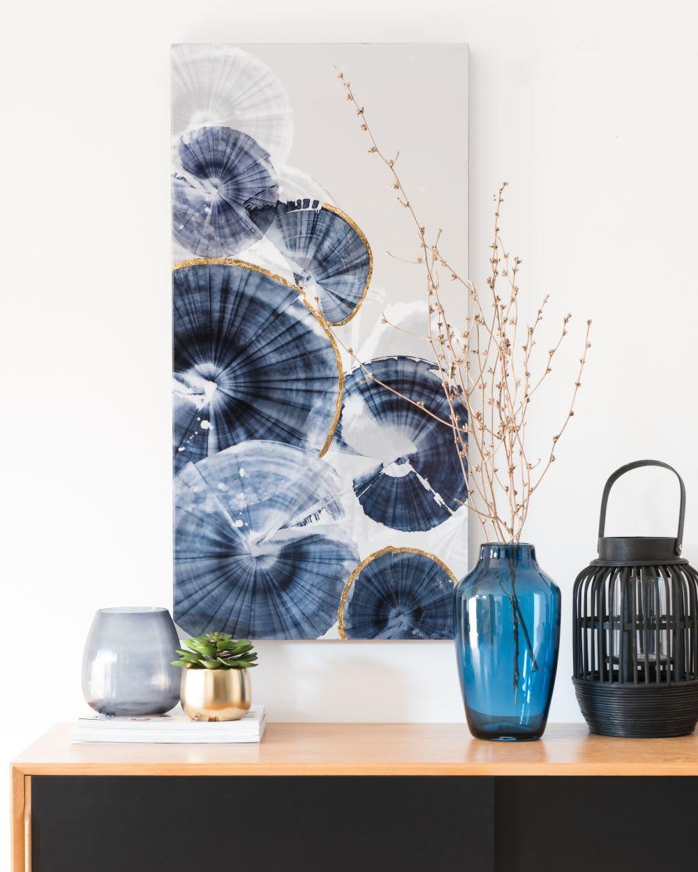 Tableau Bleu 45x90 En 2020 Illustration Bleues Tableau Bleu Et Vase Verre