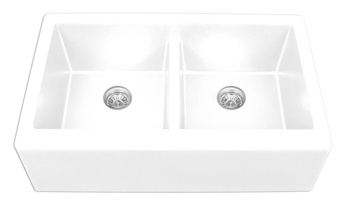 34 l x 21 w double basin farmhouseapron kitchen sink