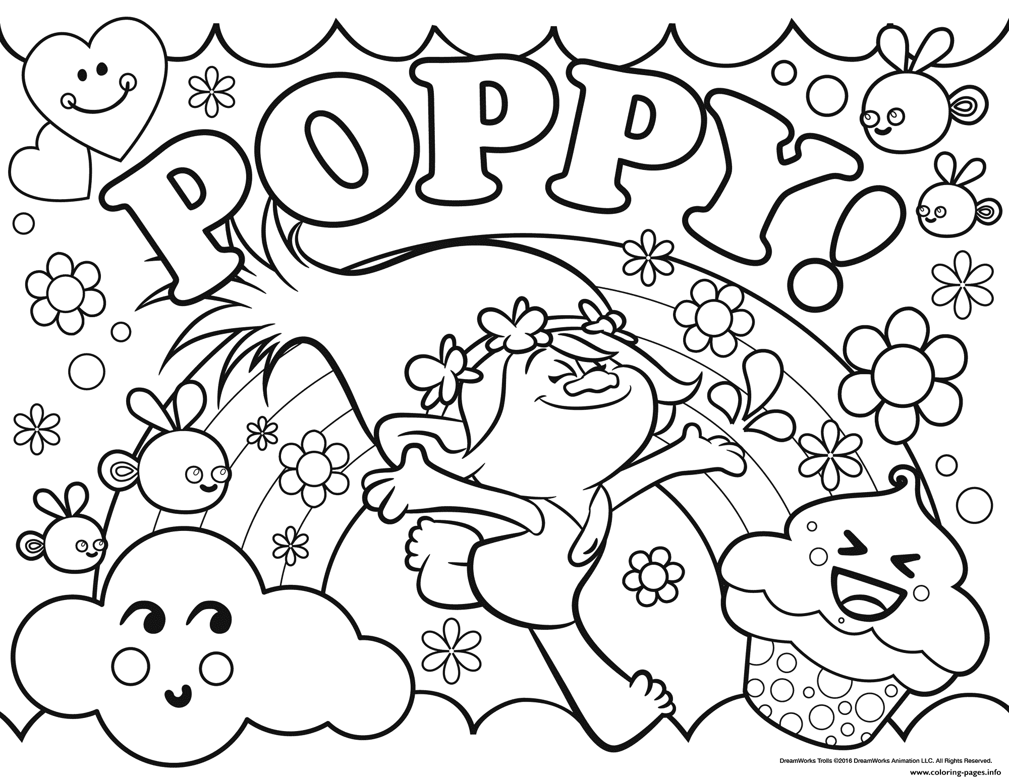 Print Trolls Poppy Coloring Pages Color Time Pinterest