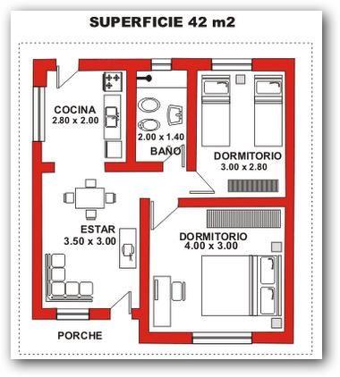 Plano de casa econ mica pinteres for Recamaras individuales contemporaneas