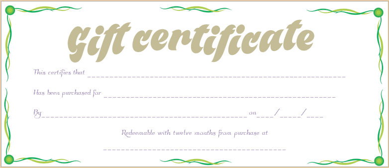 Green Waves Gift Certificate Template  Beautiful Printable Gift