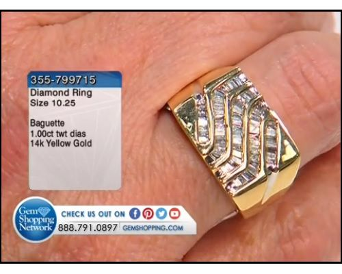 1.00 ctw Diamond Baguette 14K Yellow Gold Ring, Size 10.25