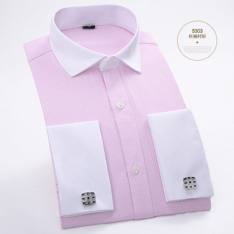 12df8d426e3b Men's Dress Shirts French Cuff Blue White Long Sleeved Business Casual Shirt  Slim Fit Solid Color French Cufflinks Shirt
