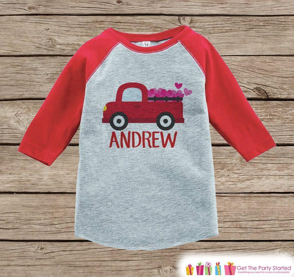 4080a86e Boy's Valentines Day Outfit - Red Raglan Shirt - Red Truck Valentine  Onepiece Top - Valentine Shirt for Baby Boys - Valentines Raglan Tee