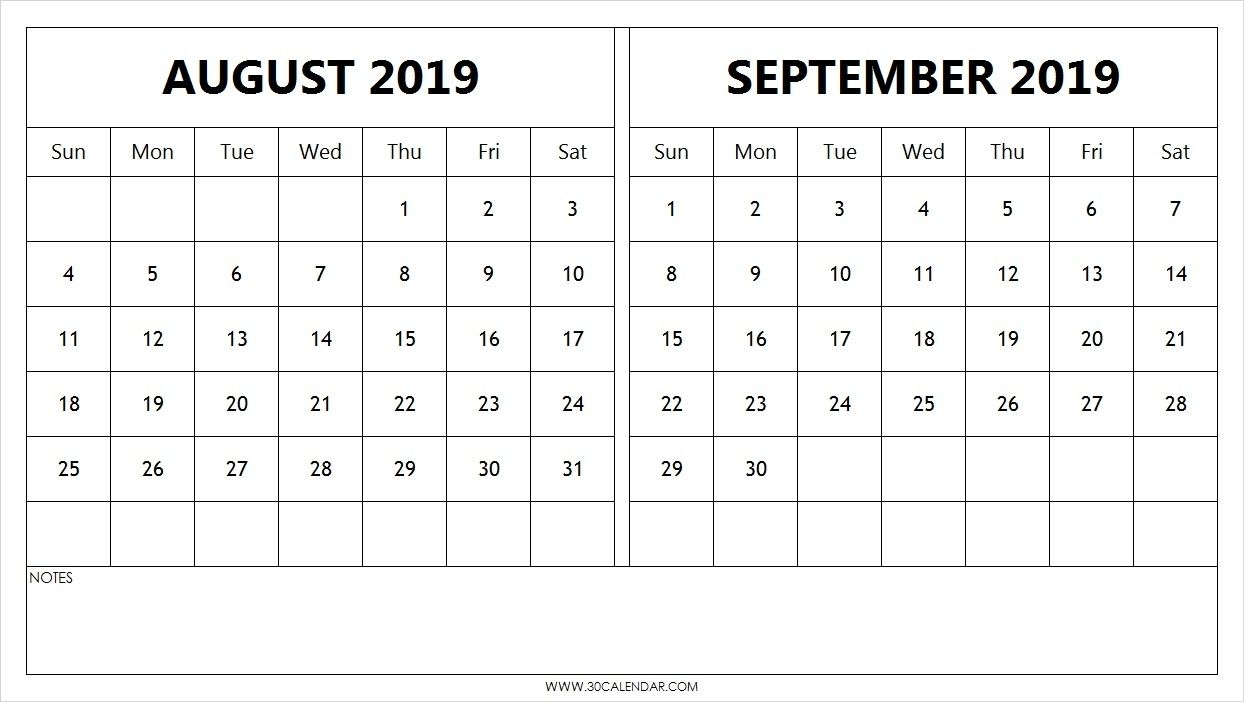 Collect August And Spetember 2019 Calendar Calendar Template