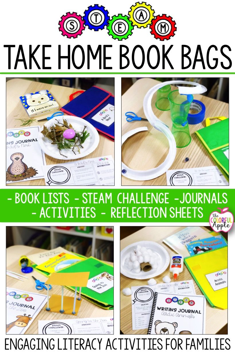 Steam Take Home Book Bags Are A Great Way To Engage Families In The Reading Process At Home After Reading Quality B Bookbags Steam Challenges Stem Activities Preschool reading activities at home