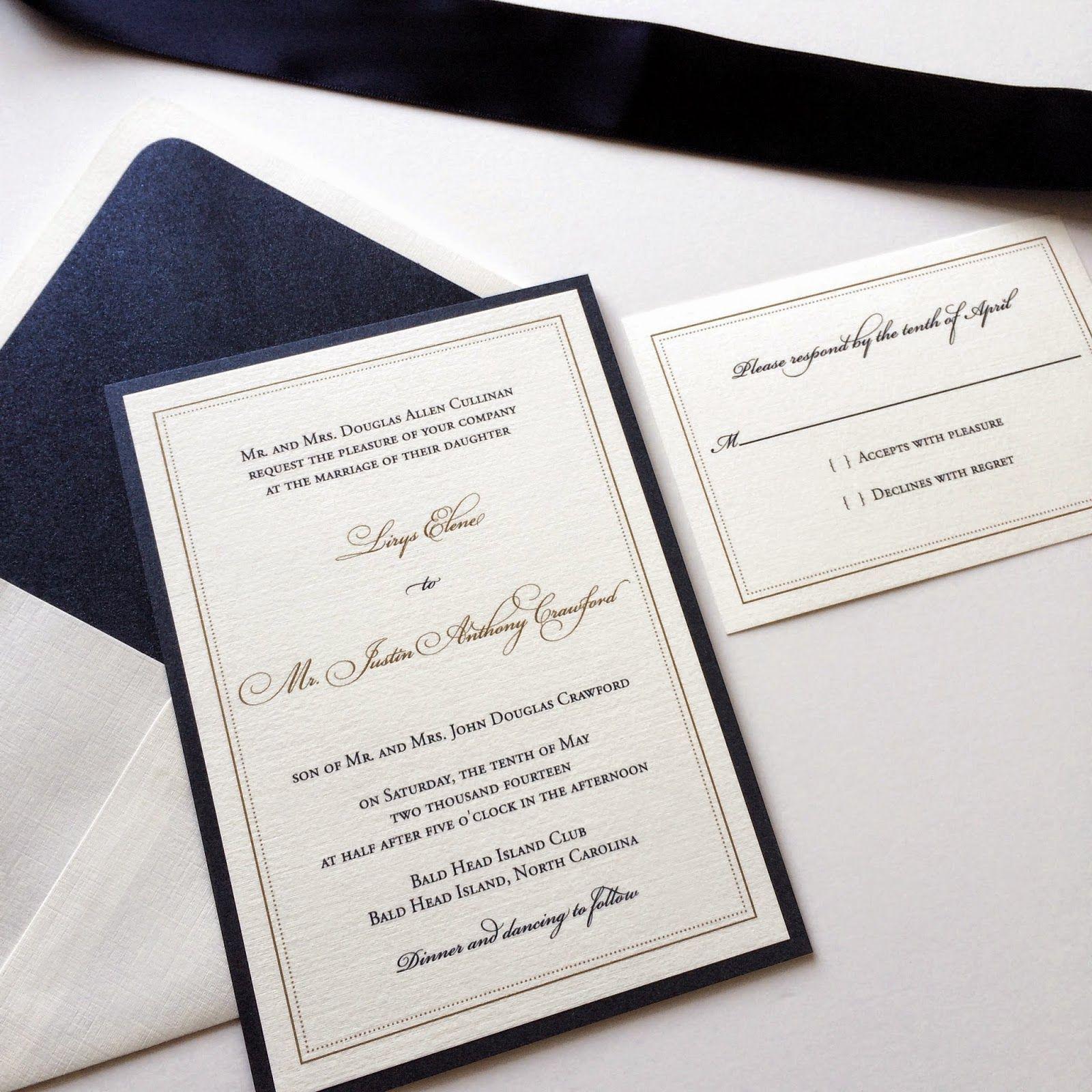 Lirys U0026 Justinu0027s Navy U0026 Metallic Gold Thermography Wedding Invitations