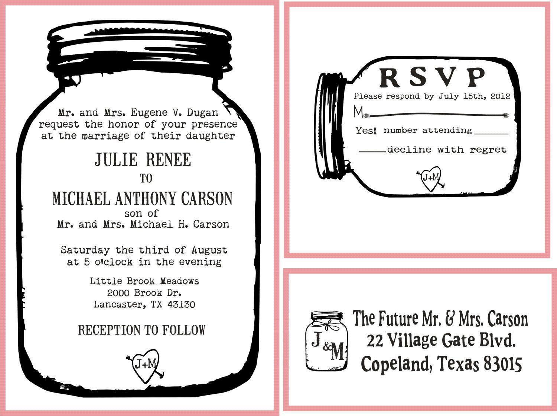 Mason Jar Wedding invitation Rubber Stamp SET with Invitation, RSVP ...