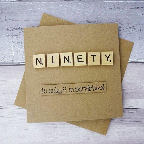 90th Birthday Card Ninetieth Scrabble Card Funny Birthday Etsy 90th Birthday Cards Birthday Card Sayings Cool Birthday Cards