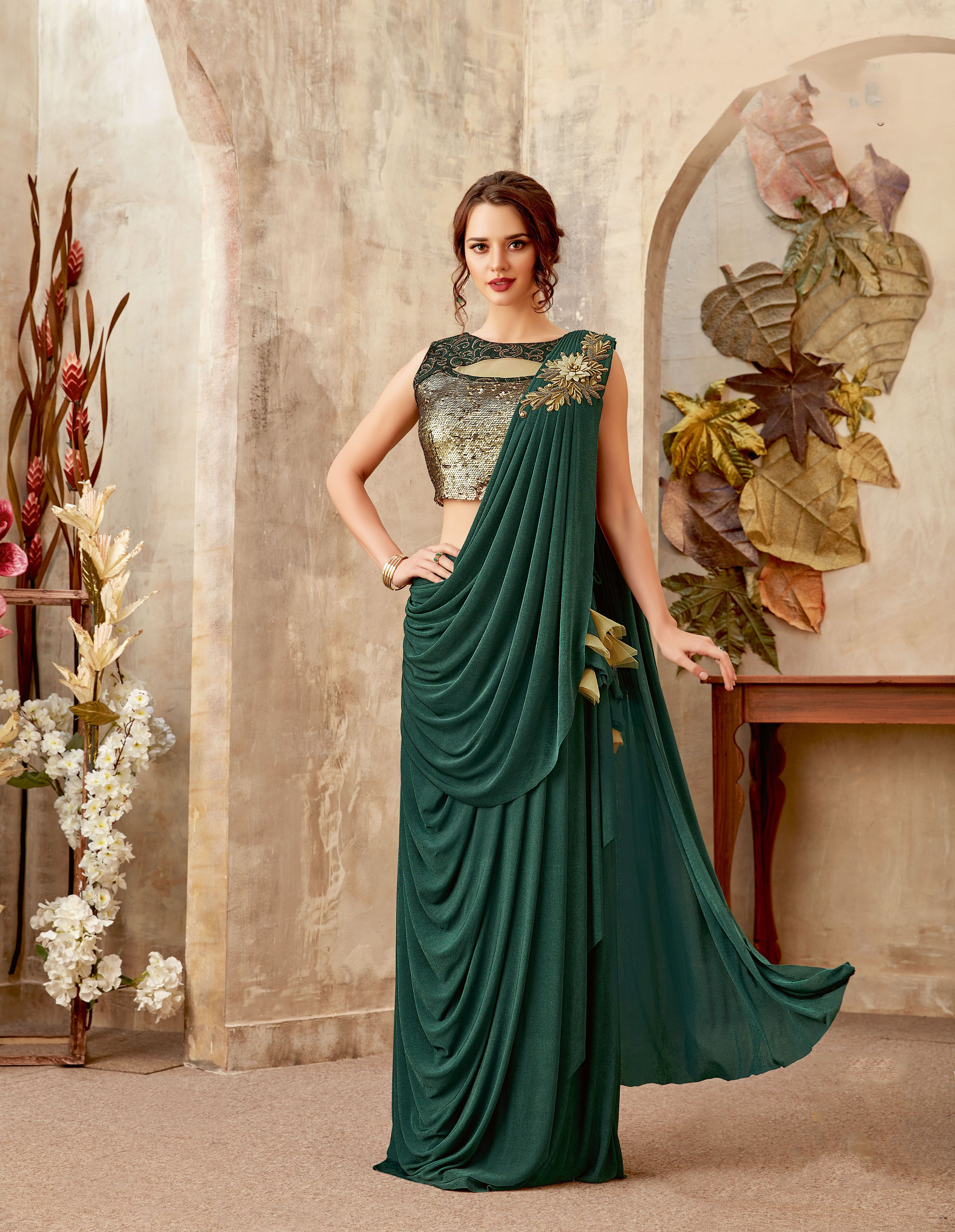 e17cced96a Simplicity is the best option ever when you believe in elegance. A #Lycra  fabric of fine quality #Party #Wear #Saree can work like a magic to steal  the ...