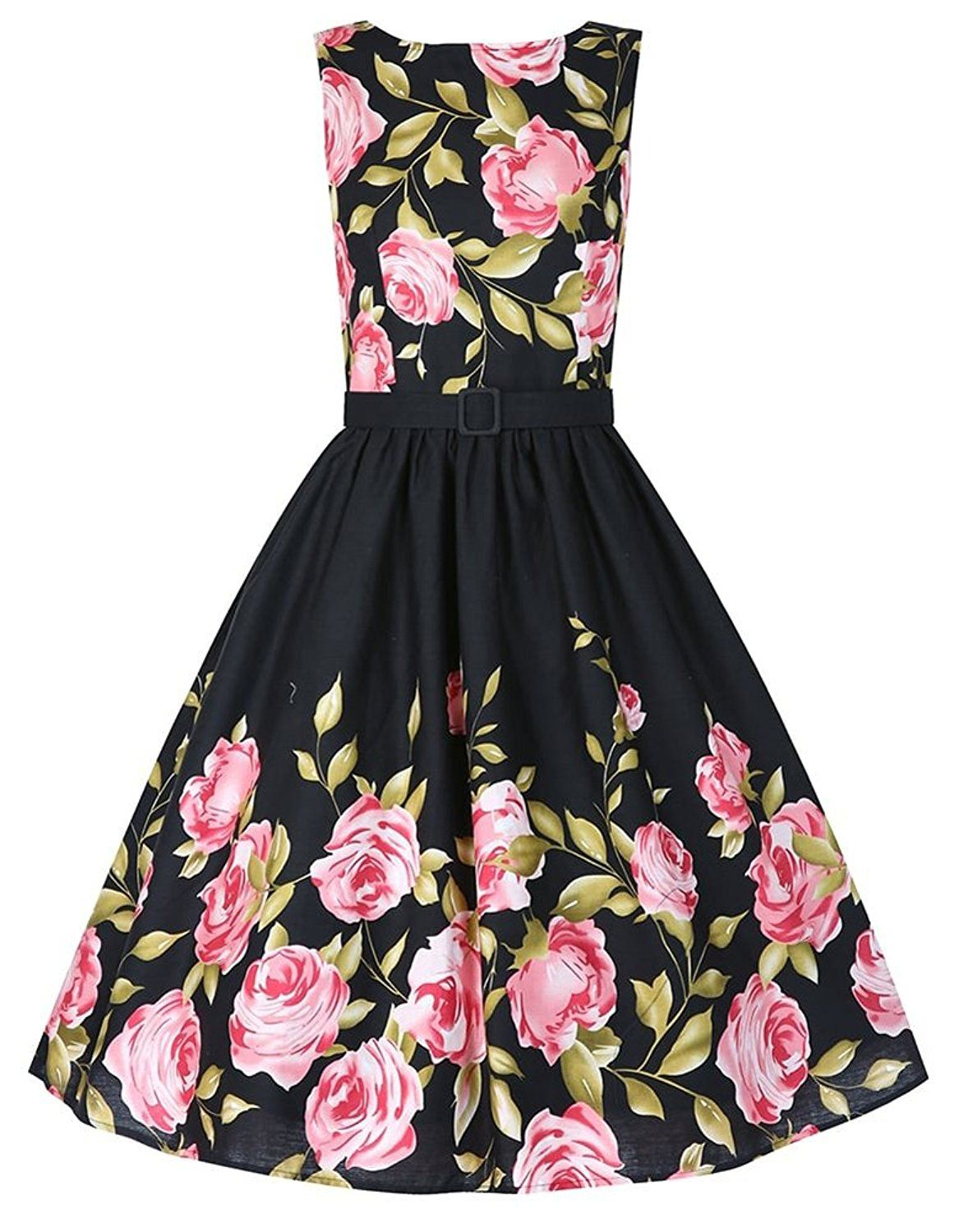 Eudolah Women's Romatic Rose Flower Printed Vintage Sash Retro Party Dress ** Check out this great image  : cocktail dresses