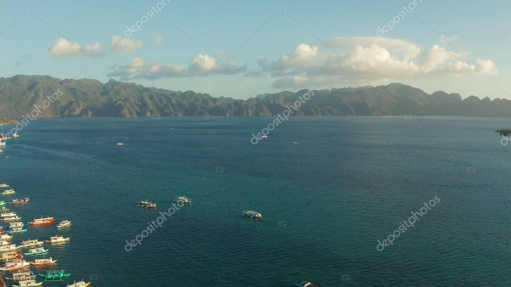 Seascape during sunsets, Philippines, Palawan - Stock Photo ,