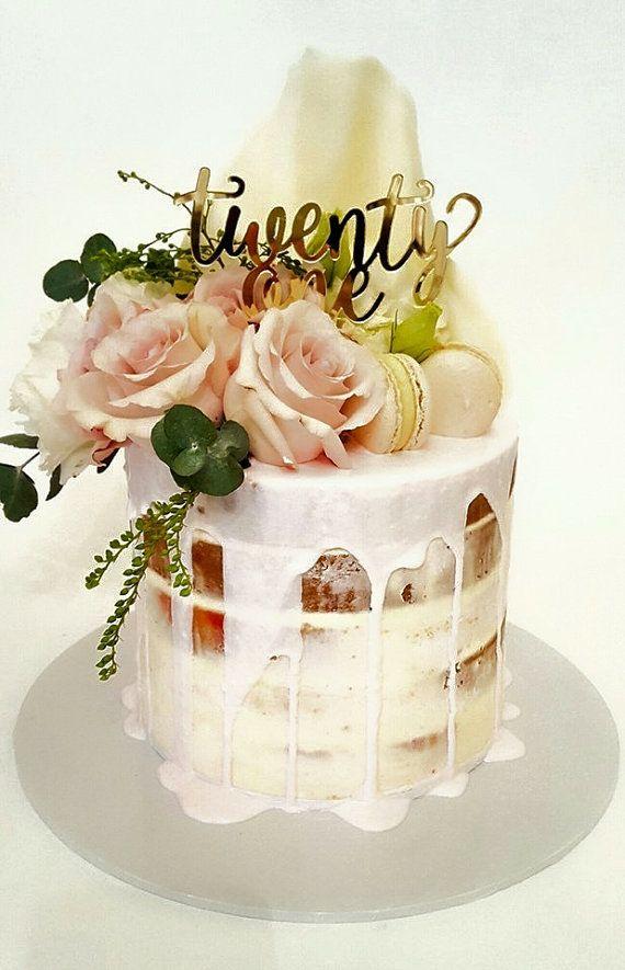21st Birthday Cake Topper Reads Twenty One