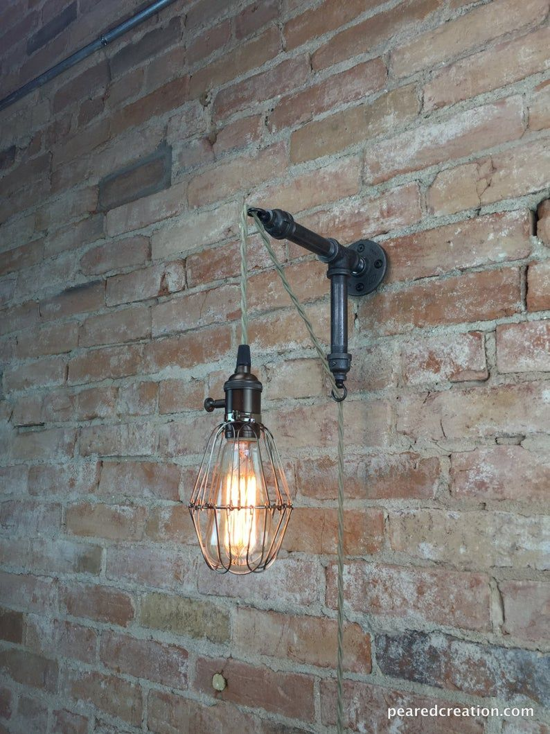 Industrial Wall Sconce Caged Bulb Pendant Edison Etsy In 2020 Industrial Wall Sconce Industrial Wall Lights Industrial Wall