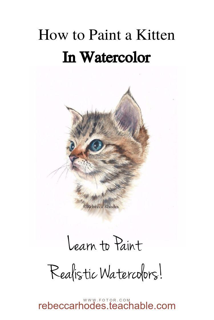 Watercolor Christmas Kitten Painting Tutorial Youtube