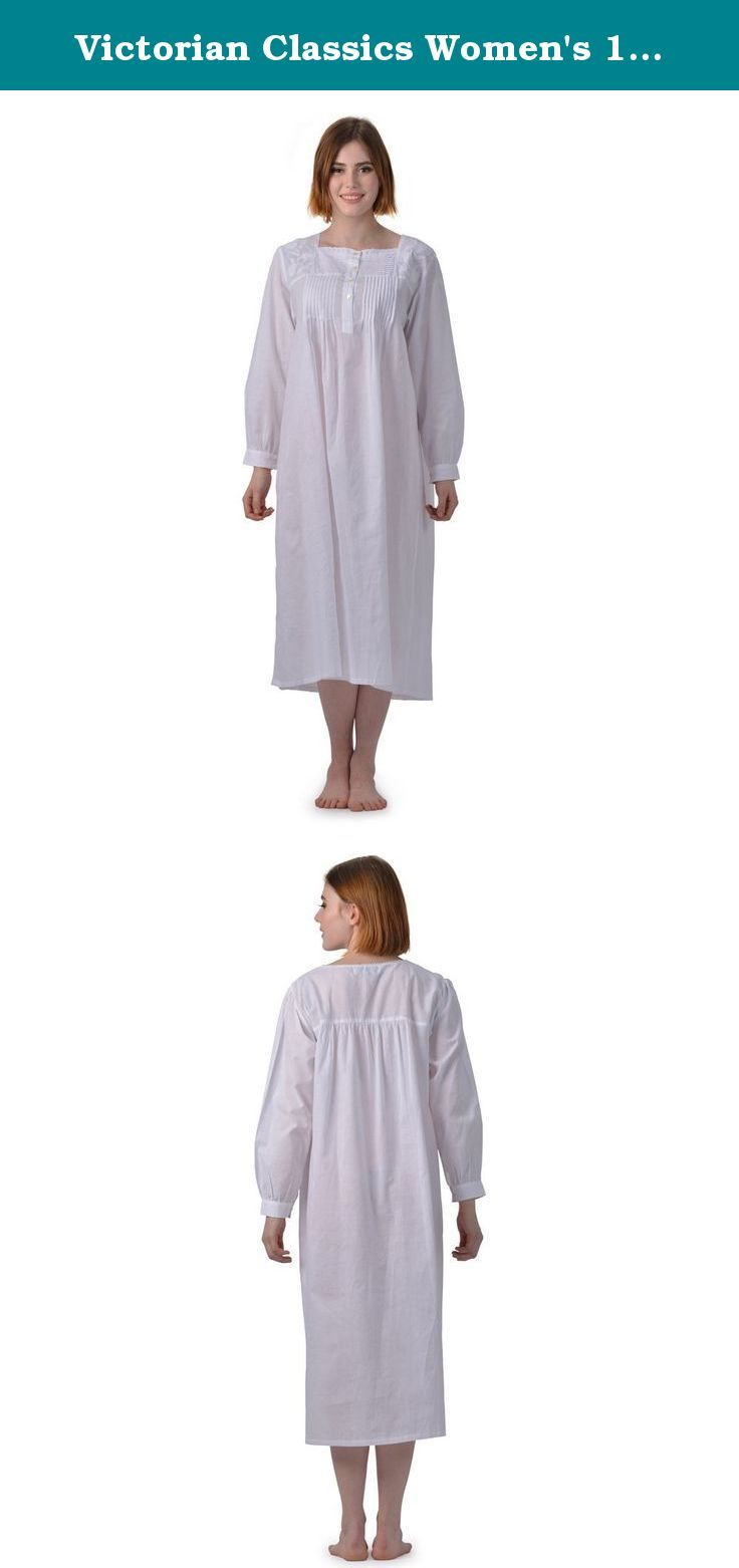Victorian Classics Women s 100% Cotton Regina Long Sleeve Victorian  Nightgown (Medium 0715aed03