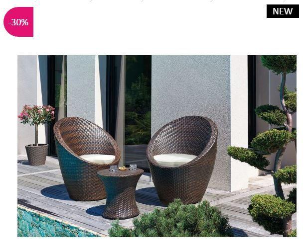 Salon de jardin design Talisman ATYLIA en résine tressée prix ...