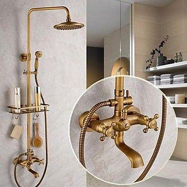 Laiton antique robinet de douche baignoire avec douche tête 8 pouces douche à main