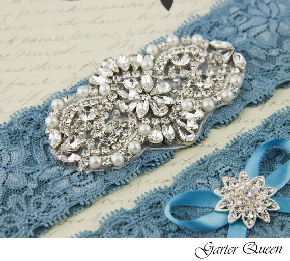 Wedding garter set Something Blue stretch lace by GarterQueen, $50.00