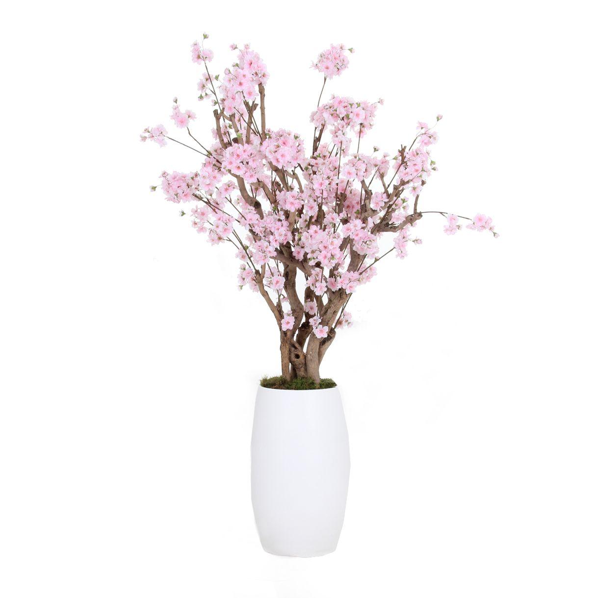Ongekend Zijde bloemen, bloesem bomen, struiken op natuurlijk hout GI-38