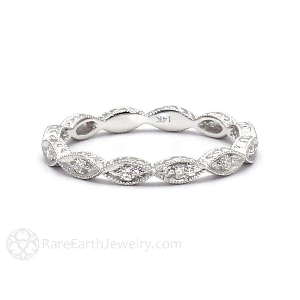 Vintage Engraved Diamond Anniversary Band Or Wedding Ring