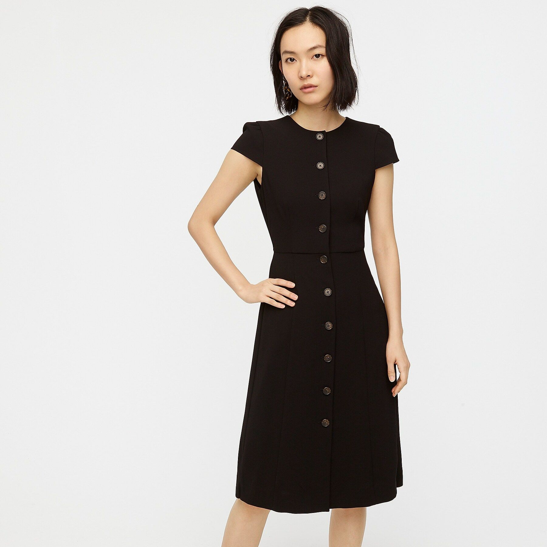 Button Front Cap Sleeve Dress