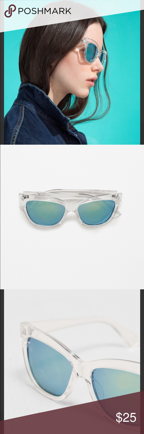 27113223bc22 Zara Cat Eye Sunglasses Clear resin and blue green lenses! So sleek and  stylish. Comes with hard case and drawstring dust bag. Zara Accessories  Sunglasses