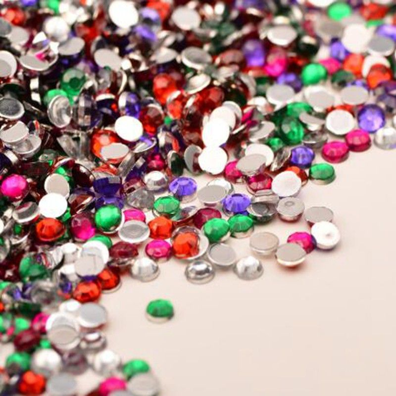 1000pcs High quality 5mm Color mixing Acrylic Nails rhinestones crystal 3D  Nail nail Phone beauty DIY 26658bd5857a