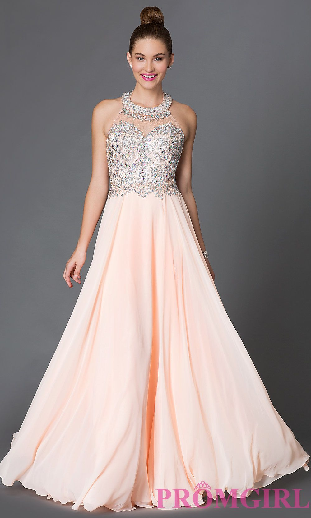 Long Halter Prom Dress with Jewel Embellished Bodice   Long ...