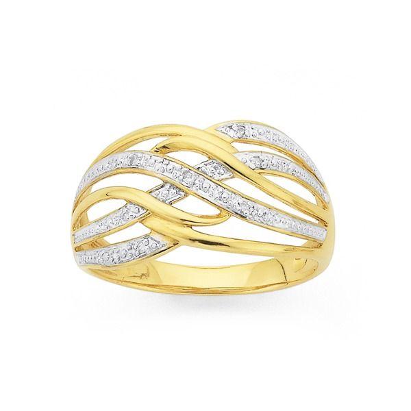 9ct Gold Diamond Multi Wave Dress Ring